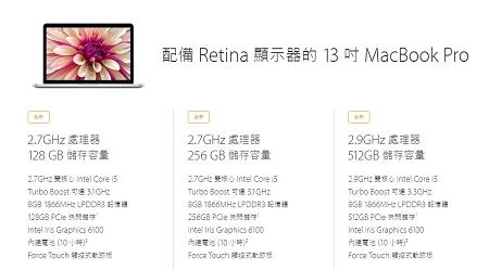Macbook Pro Reina 2015 13吋規格