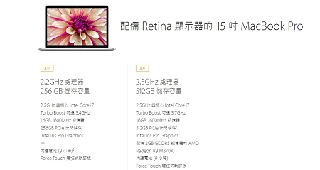 Macbook Pro Reina 2015 15吋規格